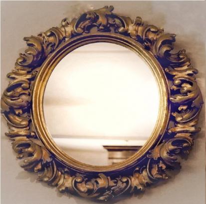 Gilded Oval Foliate Framed Mirror