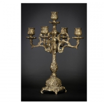 Large Antique Baroque Gilded Bronze Candelabra