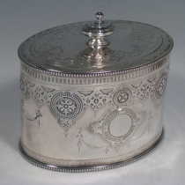 Antique Victorian sterling silver tea caddy box