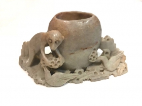 Chinese antique soapstone ink jar carving with monkey and bird